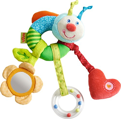 Haba Rattling Caterpillar - HABA Clutching Figure Rainbow Worm - Machine Washable Plush Ring with Dangling Elements for 6 Months +