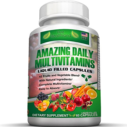 FOOD BASED Daily Liquid Filled Multivitamin Supplement Capsules For Men Women Seniors With 42 Fruits Vegetables Blend, 21 Essential Vitamins Minerals, Boosts Immune System And Energy. Easy To (Senior Daily Vitamin Supplement)