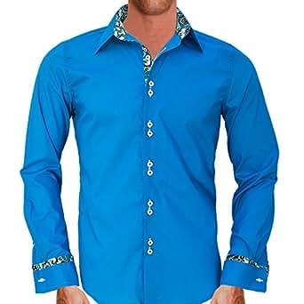 Bright Blue With Hawaiian Style French Cuff Designer Dress