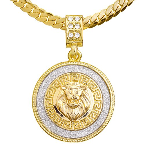 metaltree98 Men's 14K Gold Plated CZ Lion Medallion Pendant 20