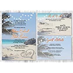 Beach Wedding Destination Invitation set of 20