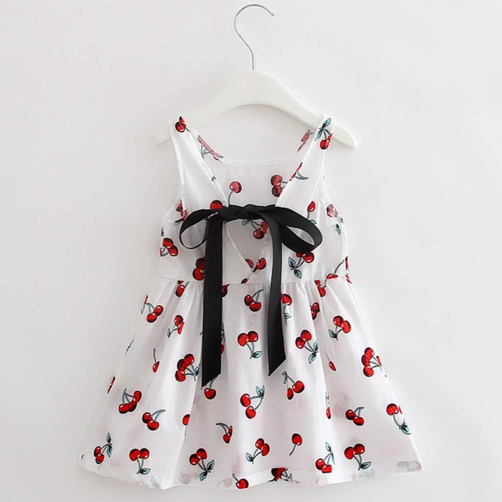 2-7 Jahre MOIKA Baby M/ädchen Prinzessin Kleider, Kleinkind M/ädchen Sommer Prinzessin Kleid Kirschdruck Kinder Baby Party Hochzeit /Ärmellose Kleider