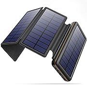 Solar Charger, 26800mAh Ultra High Capacity Power Bank, Portable External Battery with 4 Foldable Solar Panels, 2 USB…