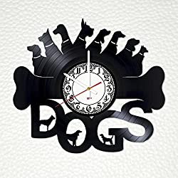 Funny Dogs Handmade Vinyl Record Wall Clock - Get unique home or living room wall decor - Gift ideas friends, children – Pets Cool Unique Modern Art Design