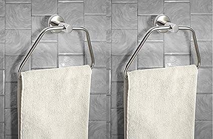INDISWAN� Glossy Stainless Steel Towel/Napkin Ring - Bathroom Towel Holder (Pack of 2)