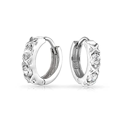 dc495aacd Amazon.com: Xoxo CZ Hugs And Kisses Huggie Hoop Earrings For Women For  Girlfriend Round Cubic Zirconia 925 Sterling Silver: Jewelry