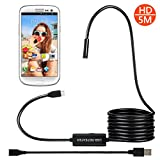 Fixget USB/Micro USB Endoscope, 2 In 1 Digital Borescope/Waterproof Camera 2.0 Megapixels, 6 LED Lights & 5M Snake Wire for Android Smartphone with OTG Function, iPad & Tablet PC