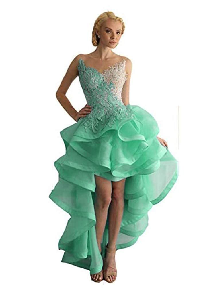 Cyan Green Ai Maria Women's Round Collar Sleeveless Front and Back Long Ball Dress Eugene Lace Cocktail Evening Dresses