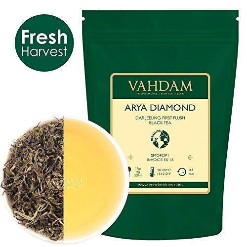 Arya Diamond Darjeeling First Flush Organic Black Tea, 100% Pure Unblended Black Tea Loose Leaf Sourced Direct from the Arya Tea Estate (25 Cups), 1.76oz