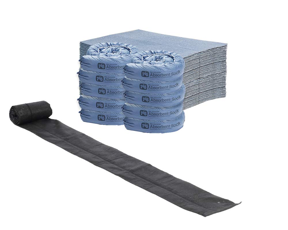 Storm Preparedness Water Absorption and Water Barrier Kit by New Pig; Ideal for Garages, Sheds, and Workshops for Diverting and Absorbing Water