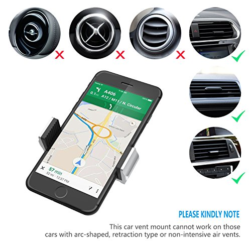 Reiko Universal Air Vent Magnetic Car Mount Phone Holder for iPhone 7//7 Plus//6// 6S//6S Plus Black Hot Pink