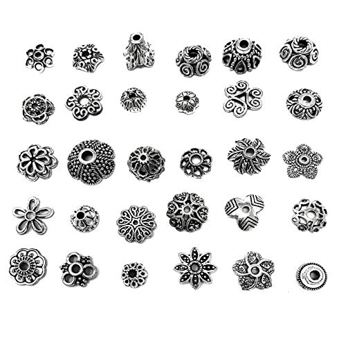 (JIALEEY Wholesale Bulk Lots 150Pcs 30 Style Tibetan Silver Bead Caps Mixed for DIY Jewelry Making, Bali Style 7-14mm)