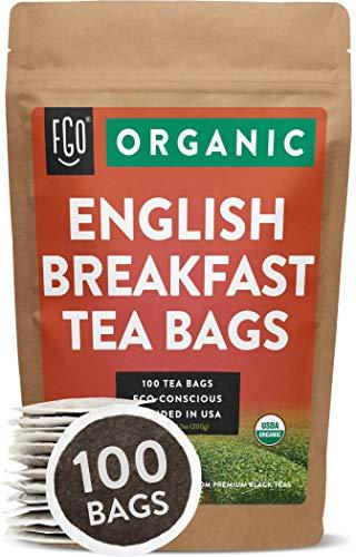 Organic English Breakfast Black Tea Bags   100 Tea Bags   Chinese Keemun & Indian Assam Blend   Eco-Conscious Tea Bags in Kraft Bag   by FGO