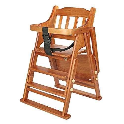 Economical Stacking Chairs - HANXIAODONG Portable High Chair Restaurant Wood High Chair Babies Toddlers Baby High Chair Stacking Wood High Chairs (Color : Brown, Size : 454885cm)