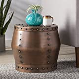 Copper Drum End Table Drum Style Silhouette Round Alluring End Table, Features Iron Material in Antique Hammered Copper Finish, Lend Your Space a Touch of Worldly Appeal, Charming Design and Chic Flair + Expert Guide