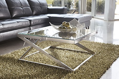 Coly Brushed Nickel Finish Square Cocktail Table COFFEE (Cocktail Table Finish)