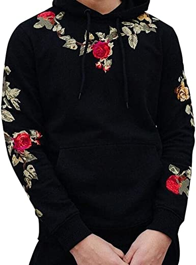 Domple Womens Embroidery Long Sleeve Plus Size Hooded Pullover Hooded Sweatshirt