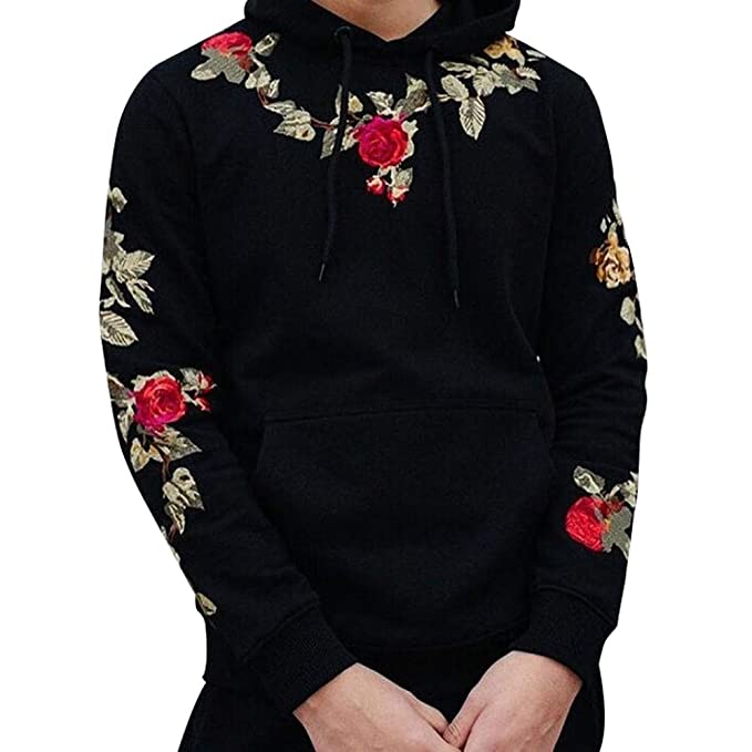 neueste Kollektion mehrere farben neueste auswahl WHSHINE Herren Pullover Herbst Blumen Stickerei Langarm ...