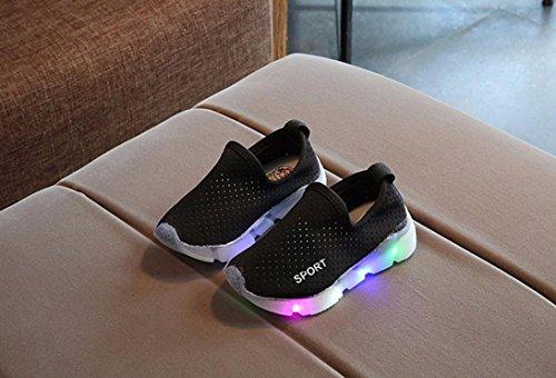 Sunnyoyo 1-4 Jahre alt Kinder Kinder Soild Jungen Mädchen LED leuchten leuchtende Turnschuhe Schuhe Schwarz