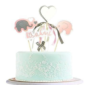 BLINGBLING Happy Birthday Cake Topper Packaged Handmade Pink Love Elephant Girl