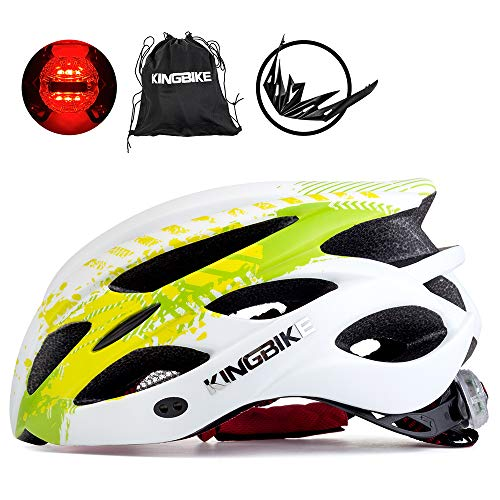 KINGBIKE Bicycle Helmet Bike Cycling Helmets Road MTB Specialized Adult Helmts for Mountain Men Women Girls Ladies with Safetly Light and Portable Bag(Green&White, M/L(54-59CM)) Review