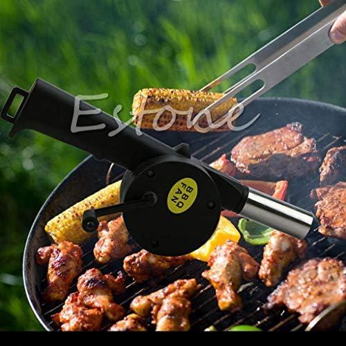 jiheousty BBQ Fan Souffleur d'air Manivelle Alimenté Barbecue Feu Picnic Camping Outils