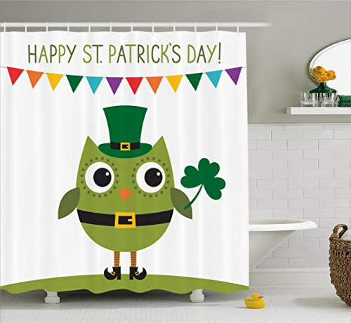 Ambesonne St. Patrick's Day Shower Curtain, Owl with Leprechaun Costume Greeting Design for Party Shamrock Pattern, Fabric Bathroom Decor Set with Hooks, 70 Inches, Multicolor