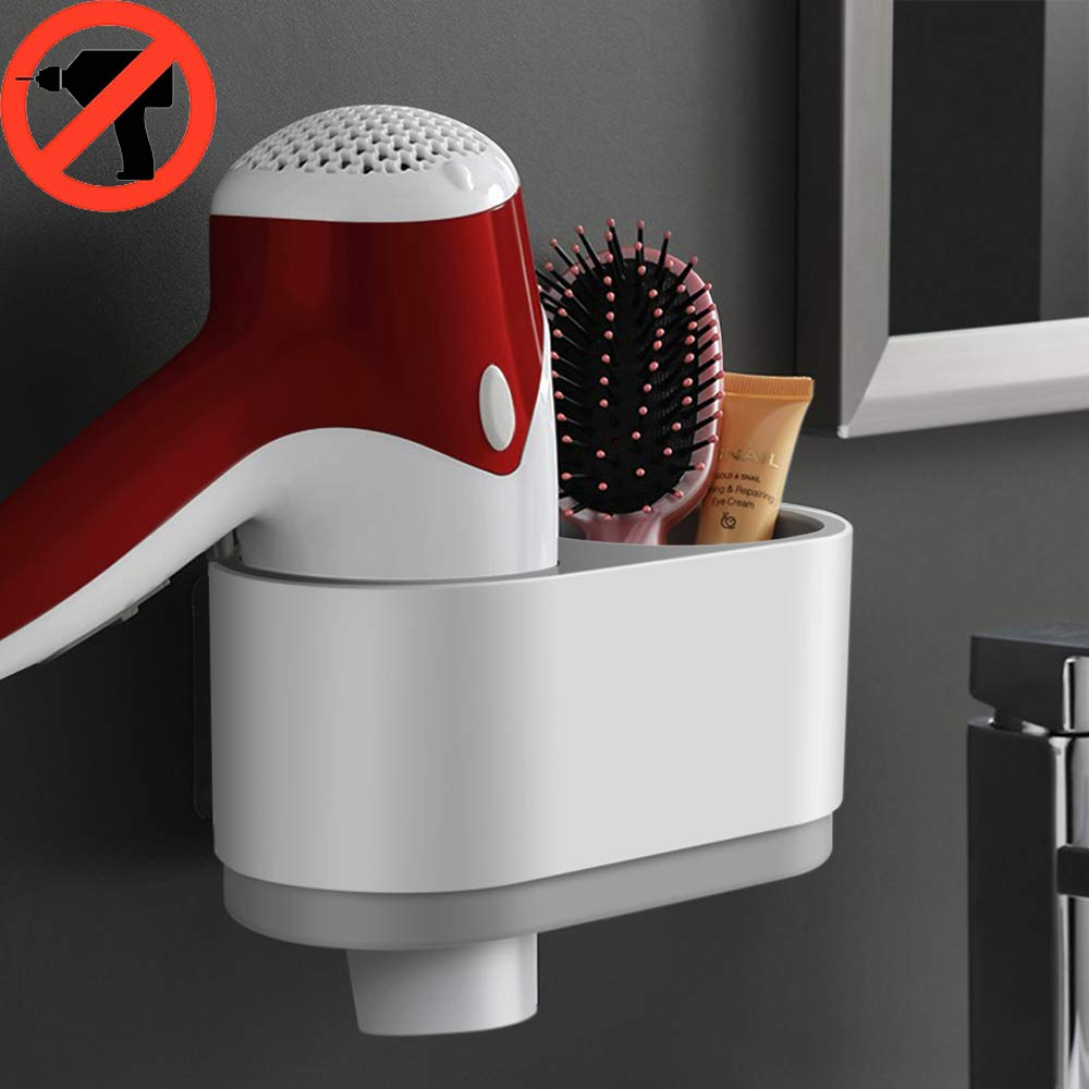 iHEBE Adhesive Hair Dryer Holder No Drilling Wall Mount Hair Care Styling Tool Organizer Storage for Blow Dryer Curling Wand Straightener Brushes Hang Inside or Outside Cabinet Doors