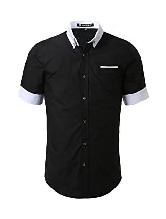 Allegra K Men Short Sleeves Slim Fit Button Down Shirt at Amazon ...