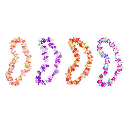 Hawaiian Ruffled Simulated Colorful Luau Silk Flower Leis Necklaces for Tropical Island Beach Theme Party Event, Birthday Supplies, Costume (12 -