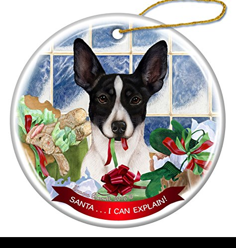 Black and White Rat Terrier Dog Porcelain Hanging Ornament Pet Gift 'Santa.. I Can Explain!' for Christmas Tree and Year Round