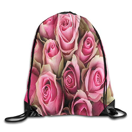 (Drawstring Backpacks Bags Daypacks,Blooming Pink Roses Festive Bridal Bouquet Romance Sweetheart Love Valentines,5 Liter Capacity Adjustable For Sport Gym Traveling)