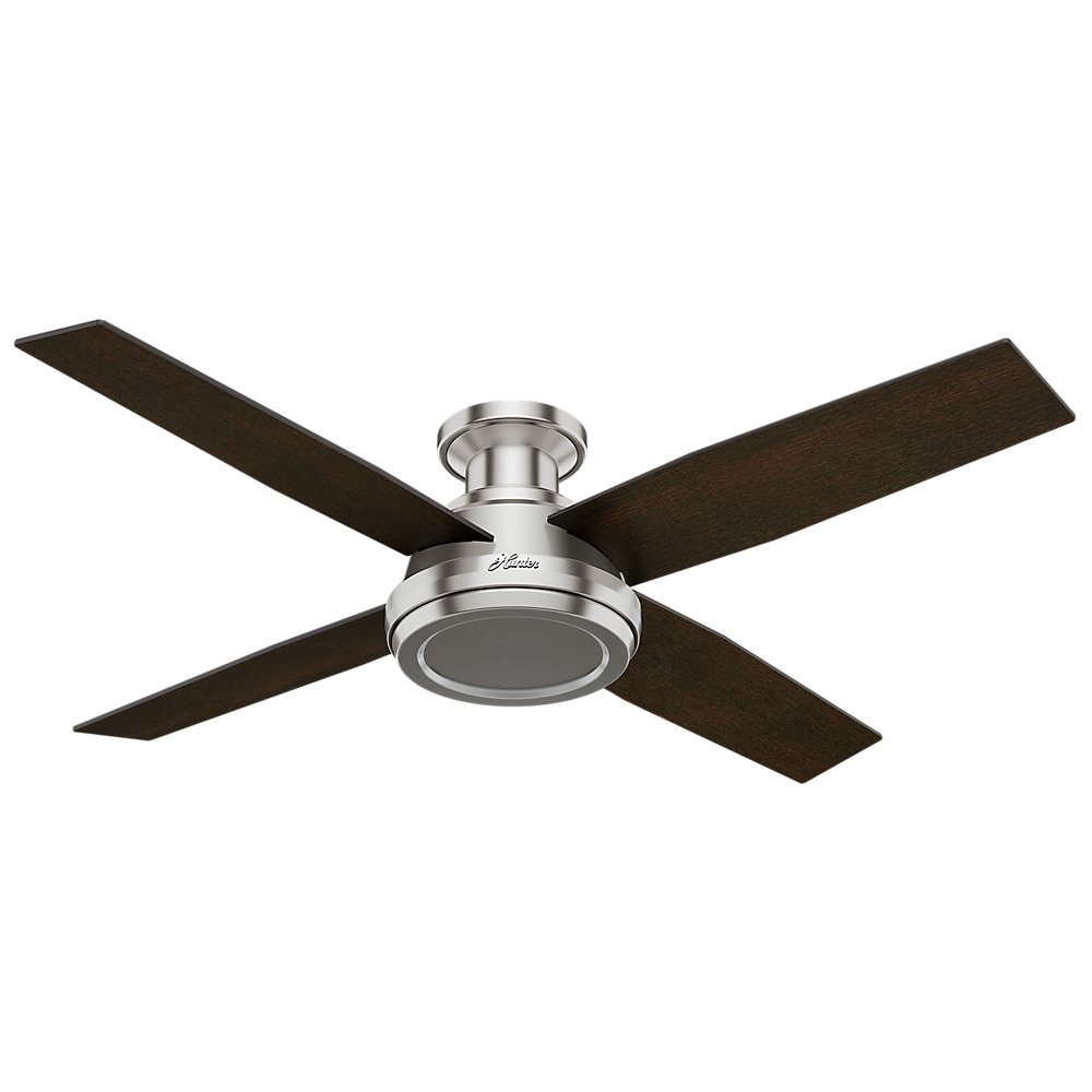 Hunter 59247 Dempsey Low Profile Brushed Nickel Ceiling Fan With