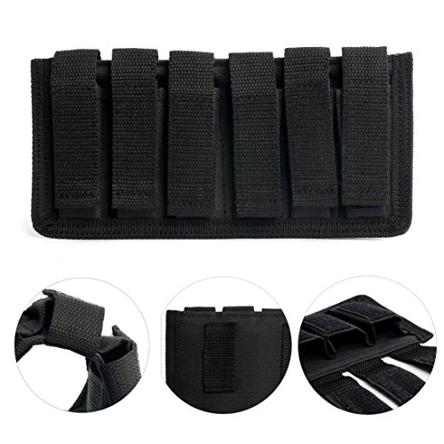 Yaekoo Six Pack Magazine Pouch - 9mm, 40 S&W, 45 ACP -Black Mag (6 Mag Pouch)