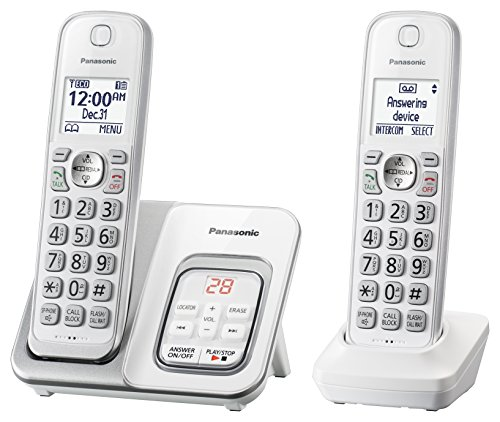 PANASONIC Expandable Cordless Phone System with Answering Machine and Call Block - 2 Cordless Handsets - KX-TGD532W - & At Cordless Phone Lcd T
