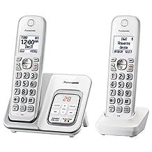 Panasonic Expandable teléfono inalámbrico con Call Bloque y contestadora, 2 audífonos, Blanco