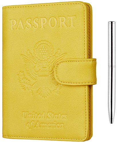 Toughergun Leather Passport Holder Wallet Cover Case RFID Blocking Travel Wallet (nappa sunshine yellow buckled with bonus pen)