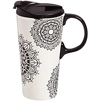 Cypress Home Mandala Mania Coloring Book Ceramic Travel Coffee Mug, 17 ounces