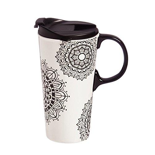 Cypress Home Mandala Mania Coloring Book Ceramic Travel Coffee Mug, 17 ounces (Ceramic Coffee Cups Travel compare prices)