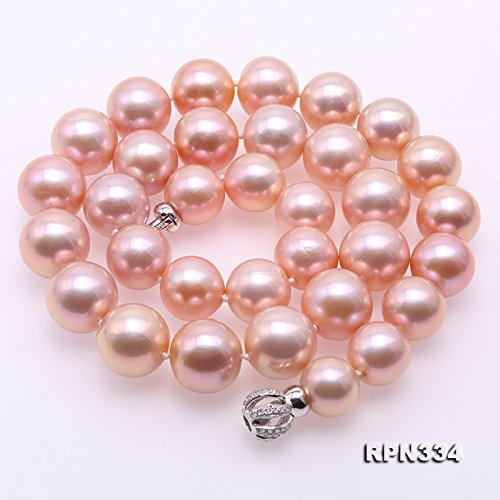 JYX Top-grade AAAAA 12-15mm Lavender Freshwater Pearl Necklace 19