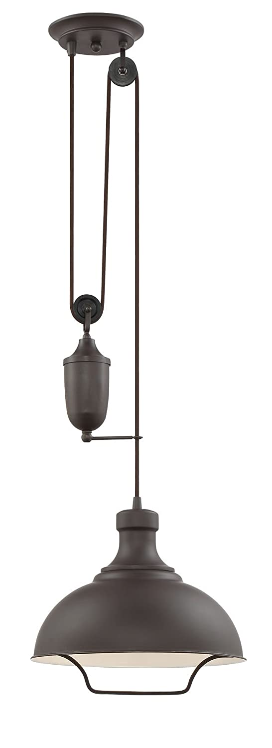 """Kira Home Sequoia 13"""" Large Industrial Farmhouse Pendant Light + Pulley System Design + Adjustable Height, Oil-Rubbed Bronze Finish"""