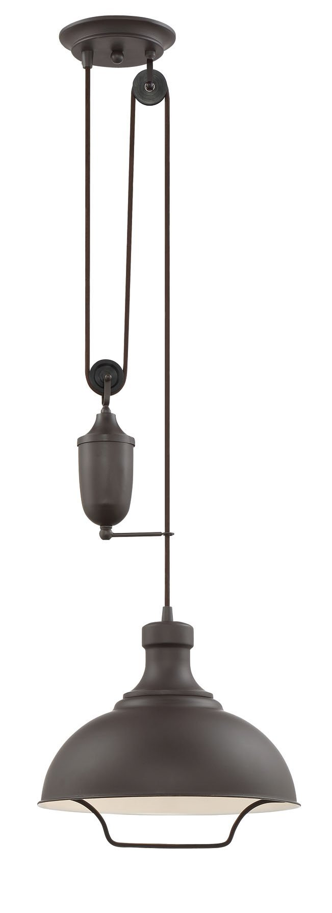 Kira Home Sequoia 13'' Large Industrial Pendant Light + Pulley System Design + Adjustable Height, Oil-Rubbed Bronze Finish