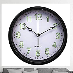 Luminous Wall Clock | Silent No Ticking Wall Clock | Decorative Round Wall Clock | Stylish Design Wall Clock | Easy to Read Numbers | Battery Operated Wall Clock | Perfect to Upgrade Any Room (Black)