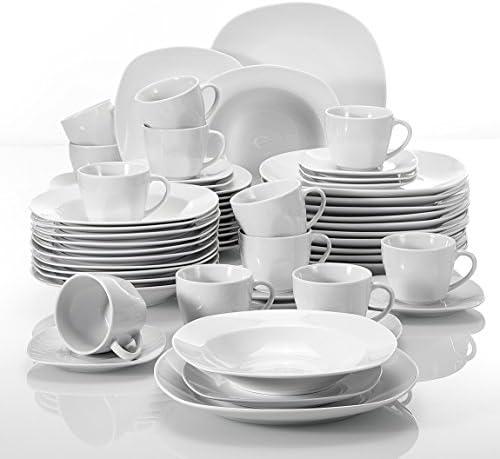 MALACASA Series Elisa 60 st Set servies porselein combinatie servies met 12 koffiekopjes 12 schotels 12 dessertborden 12 soepborden en 12 dinerborden