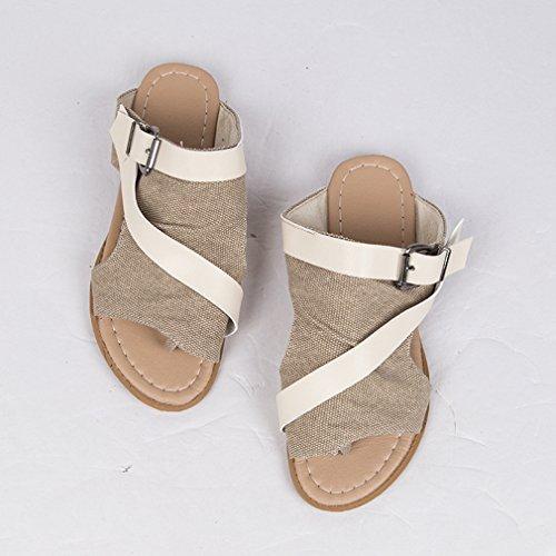 Plate Yying Gris Toile Chaussures Casual Antidérapant Baignade Peep Toe Femmes Pantoufles Plage Chaussons Confortable Tongs Oversize Mode Été TXTwx8