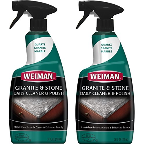 Weiman Granite Cleaner and Polish - 24 Ounce 2 Pack - For Granite Marble Soapstone Quartz Quartzite Slate Limestone Corian Laminate Tile Countertop and More