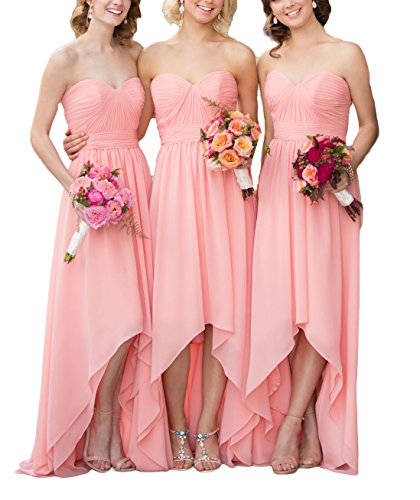 Wedding Gowns Blue Chiffon Women's High Country Dresses Bridesmaid DreHouse Low Party Style wB41vxx8qg