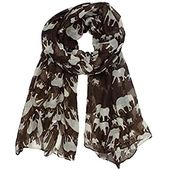 niceeshop(TM) Fashion Woman Ultra Soft Paris Yarn Gorgeous Elephant Print Long Scarf Shawl Wrap-Coffee
