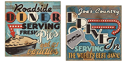 Gango Home Décor 50's Style Diner Signs; Fresh Pies and Cup of Joe Java by Pel Studios; Two 12x12in Paper Posters -