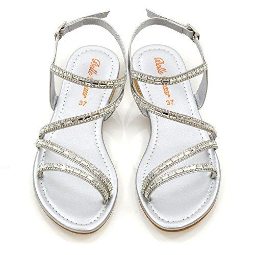 T Plates Chaussures Glam Dames Essex Femmes bar Diamante Embelli Taille Sandales Scintillantes Moulantes Argent raIYaq